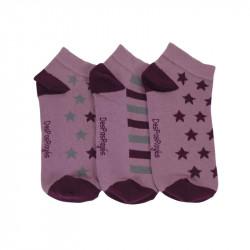 socquettes bébé étoiles roses vendues par trois