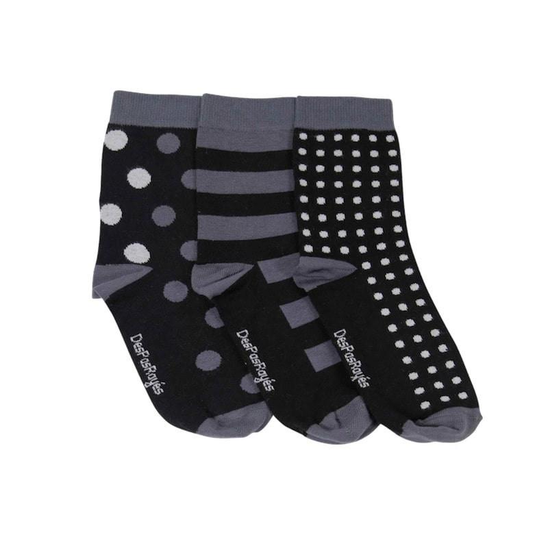 chaussettes bébé pois noirs, lot de trois chaussettes dépareillées