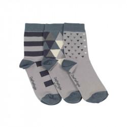 3 chaussettes dépareillées triangles bleus pour bébés