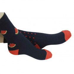 chaussettes motifs dépareillés pastèques et pépins pour bébé