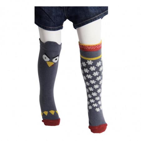Lot de 2 chaussettes hautes dépareillées pingouin en taille enfant et bébé