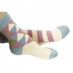 Chaussettes triangles crème avec talon et bord côte bleu pastel