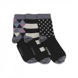 lot de trois chaussettes noires dépareillées avec motifs géométriques