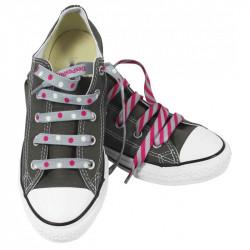 Chaussures avec lacets de couleur gris et rose