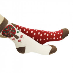 Chaussettes avec motifs champêtre sur fond rouge ou blanc cassé