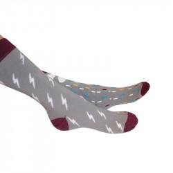 Deux chaussettes grises aux dessins différents mais ayant la même thématique