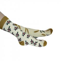 Chaussettes imprimées de houx et autres motifs floraux