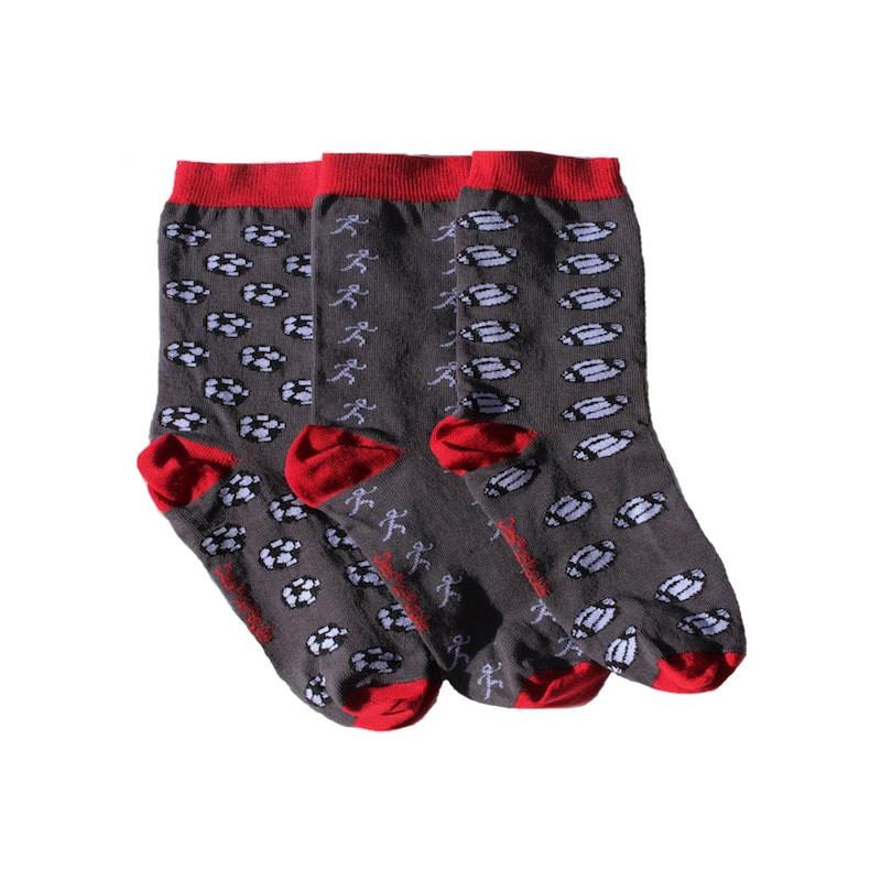 chaussettes sport grises et rouges