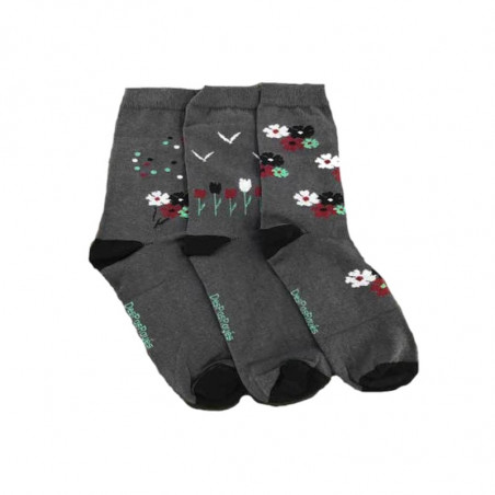 Lot de 3 chaussettes à fleurs dépareillées
