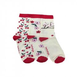 Chaussettes cerises blanches avec talon, bord côte et pointe rouge