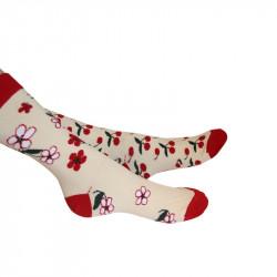 Chaussettes femme motifs cerises et fleurs de cerisier