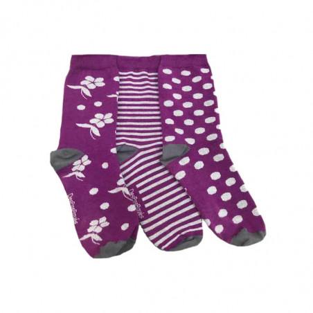 3 chaussettes violettes avec motifs blancs