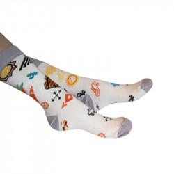 chaussettes blanches à motifs avec talon, pointe et bord côte gris