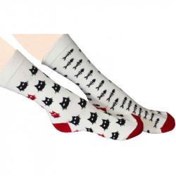 Chaussettes femme aux motifs dépareillés sur le thème du chat