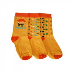 Trois chaussettes orange hipster aux motifs colorés