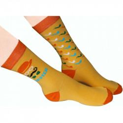 Chaussettes de couleur orange imprimées avec pipes ou nœuds papillon