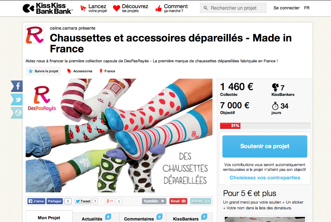 chaussettes femme crowdfunding